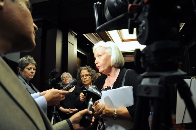 Michele G. Gangnes, director of the League of Independent Voters, addresses media about her concerns with the Vista Ridge pipeline project. Photo by Iris Dimmick.