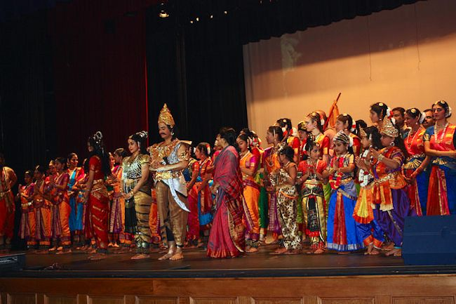 """Performers on stage after """"Sivagamiyin Sabadham."""" Photo by Kay Richter."""
