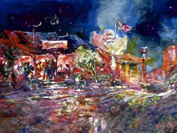 Terlingua Trading Co. watercolor by Finis Collins.