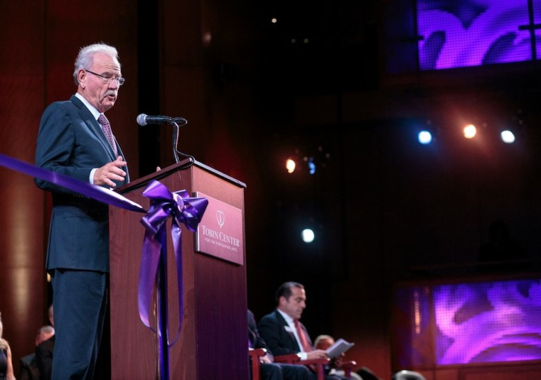 Former mayor Phil Hardberger addresses the crowd at the Tobin Center opening ceremonies. Photo by Scott Ball.