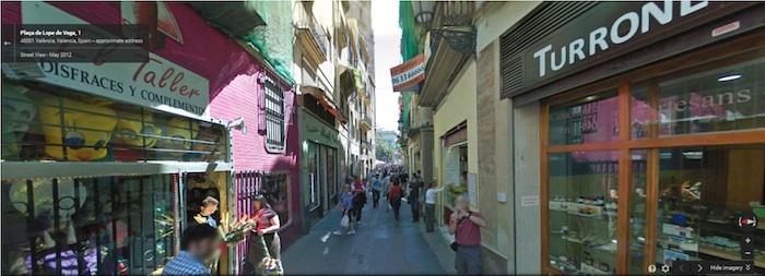 A city street in Valencia, Spain as an example of a pedestrian-centric thoroughfare. Image via Google Maps