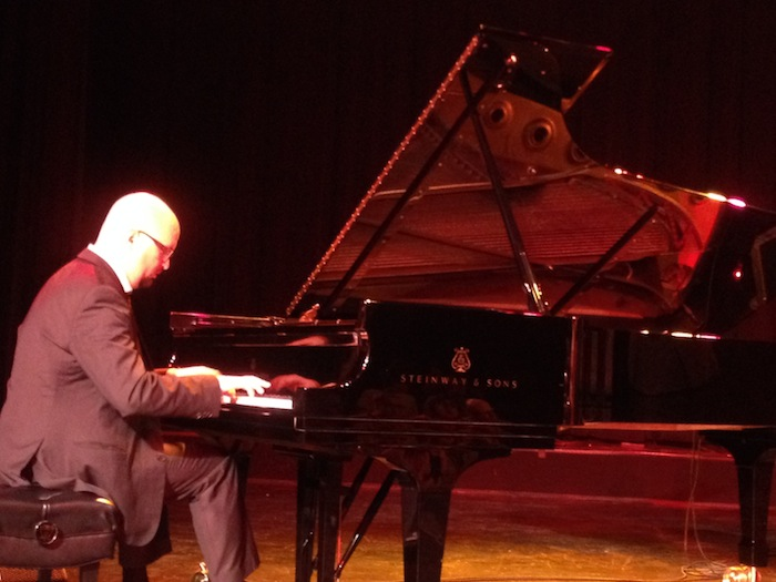Ethan Iverson performs in the Bad Plus jazz band on stage at the Aztec Theatre. Photo by Adam Tutor.