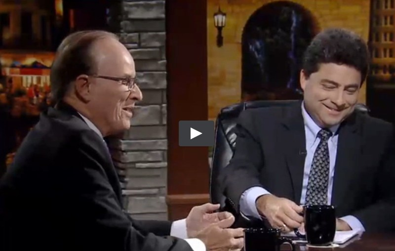 """Screen shot from Bexar County Judge Nelson Wolff and candidate Carlton Soules on """"Texas Week with Rick Casey"""" on KLRN-TV."""