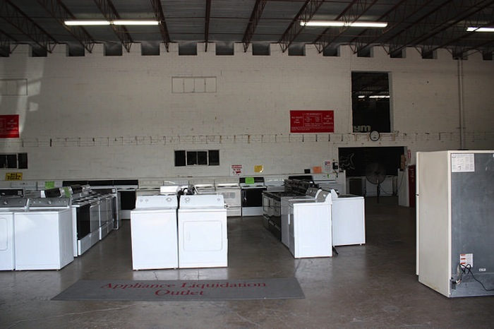 The Appliance Liquidation Warehouse is just that, but lends its space to local events like Content Under Pressure. Photo by Kay Richter.