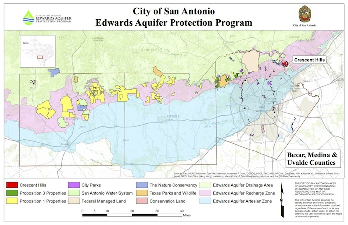 A map of conservation easements on the Edwards Aquifer.