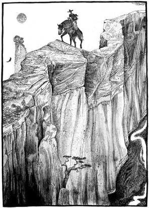 """A sample of Jack Unruh's illustrations in """"The Devil's Backbone"""" by Bill Wittliff. Courtesy image."""
