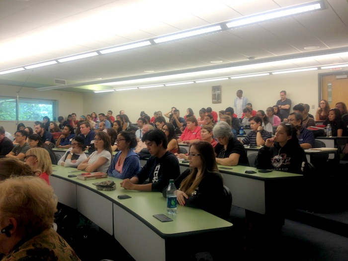 UIW's School of Nursing auditorium hosted the Ebola panel discussion Wednesday night. Photo by Lily Casura.