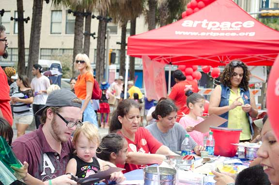 Families play at Artpace's KidZone activity stations. Photo by Francisco Cortes.