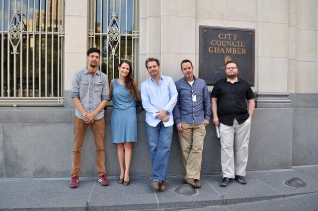 From left: French & Michigan Designer Shane Tafares, Céleste Wackenhut, Billy Lambert, building owner Jeffery Dersh, and French & Michigan Designer Nate Manfred stand outside City Council chambers after Thursday's meeting. Photo by Iris Dimmick.