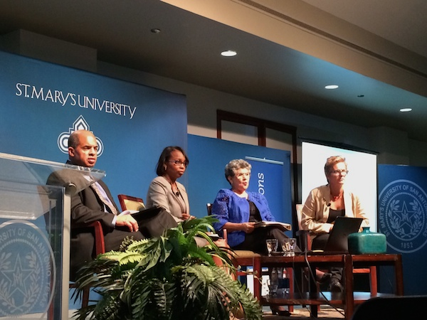 From left: Moderator Cary Clack, the mayor's communications director, Mayor Ivy Taylor, Former City Councilmember María Antonietta Berriozábal, and Trinity University's Christine Drennon during a panel discussion. Photo by Bekah McNeel.