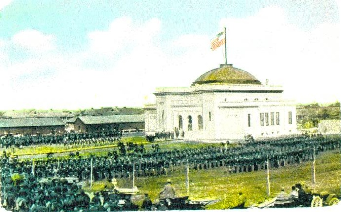 A colorized postcard of Gift Chapel's 1909 dedication.