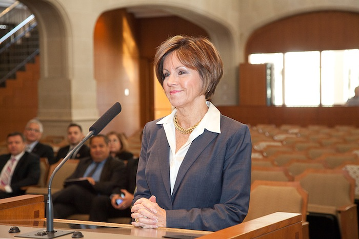 City Manager Sheryl Sculley receives praise from City Council in recognition of her 40 years of continuous service of city management in three cities. Photo by Fred Gonzales, courtesy of the City of San Antonio.