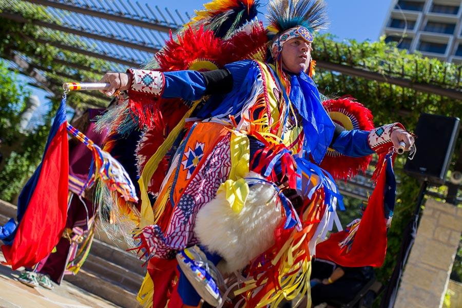 A United SA Pow Wow member dancing a ceremonial dance at the Inaugural Yanaguana Indian Arts Market. Photo by Scott Ball.