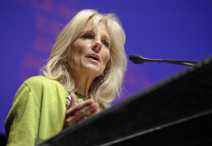 Dr. Jill Biden speaks during the Women In The World Texas Forum, presented by Tina Brown Live Media, Wednesday, Oct. 22, 2014, at the Charline McCombs Empire Theatre in San Antonio, Texas. (Ashley Landis/DA Media for Women in the World)