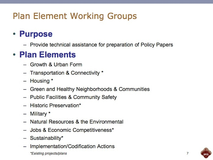 """The """"Plan Element Working Groups."""" Basically consultants. Download the full presentation here. https://sanantonioreport.org/wp-content/uploads/2014/10/comprehensive-plan-oversight-structure.compressed.pdf"""
