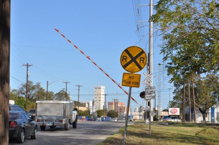Railroad crossing on Probandt Street near Lone Star Boulevard. Photo by Iris Dimmick.