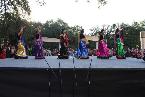 Dancers begin to fill the stage during the 2013 Diwali San Antonio festival. Photo by Kay Richter.