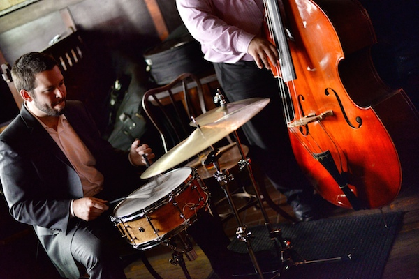 """South Texas Jazz drummer Brandon Guerra (left) and bassist Brandon """"Daddy Long Legs"""" Revis perform at the Esquire Tavern. Photo by Kody Melton."""