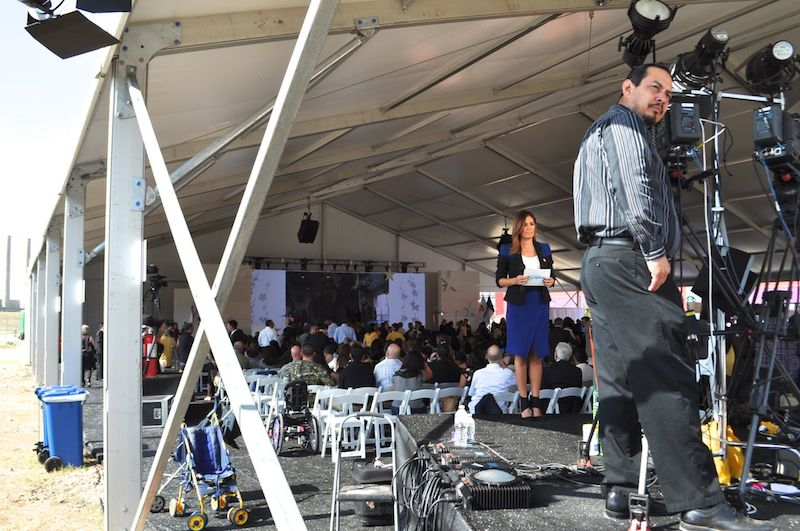 Broadcast television crews prepare for the grand opening ceremony of CRIT USA. Photo by Iris Dimmick.