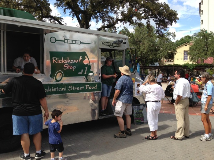 A line of people waiting to order Pakistani Street Food from the Rickshaw Stop, parked at the San Antonio International Accordion Festival. Photo courtesy of the Rickshaw Stop.