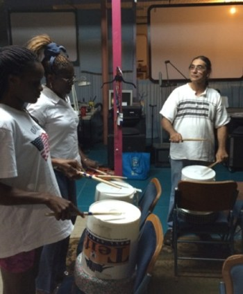 A practice drum session led by Urban-15 Music and Media Director George Cisneros. Photo by Katherine Nickas.