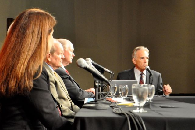 From left: SAWS Water Conservation Director Karen Guz, TSU's Medows Center for Water and the Environment Executive Director Andrew Sansom, Guadalupe-Blanco River Authority General Manager Bill West, Bluebonnet Electric Coop CEO Mark Rose, SAWS Boardmember Reed Williams, and moderator Robert Rivard. Photo by Iris Dimmick.