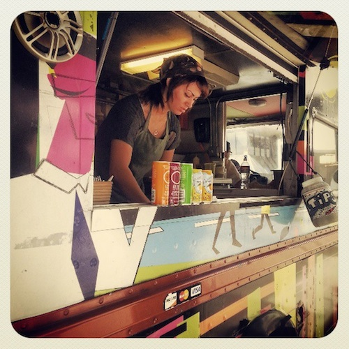 Wheelie Gourmet is a regular purveyor at the Weston Centre , which hosts food trucks on Wednesdays during lunch. Photo via Rivard Report Instagram.