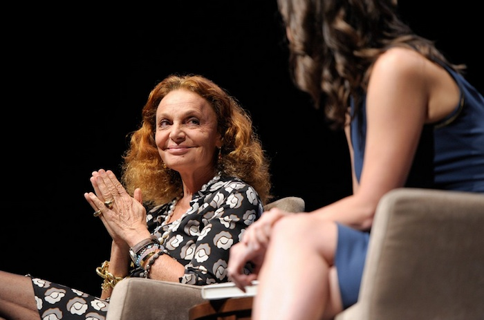 """Diane von Furstenberg and Alicia Mendez speak during the program, """"The Woman i Wanted to Be,"""" during the Women In The World Texas Forum. Photo by Ashley Landis/DA Media for Women in the World."""