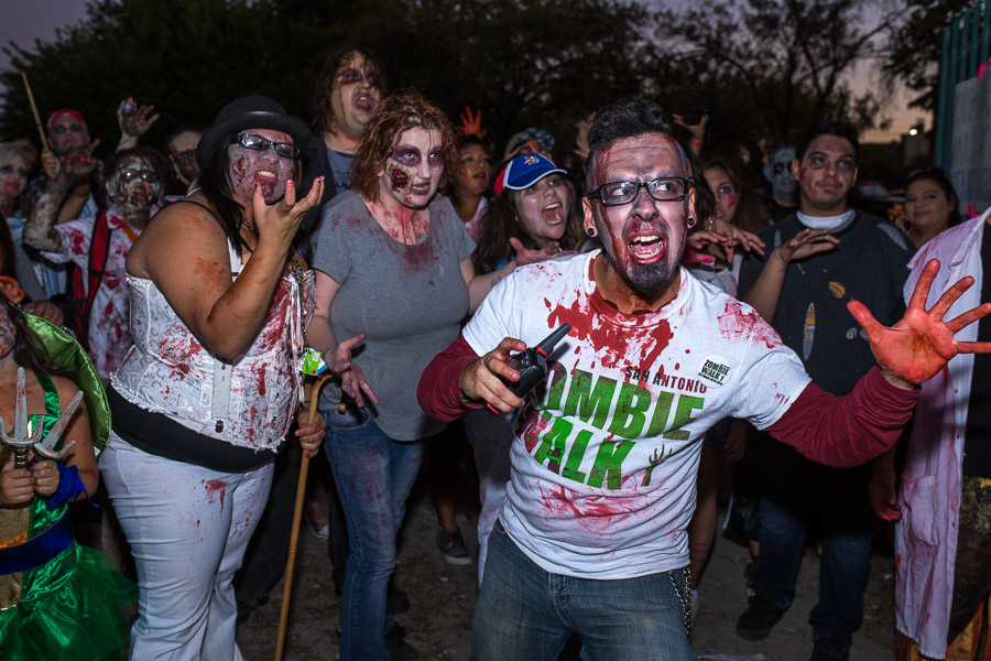 Zombie CEO Roger Sanderson leads the walk at the 2014 Zombie Walk. Photo by Scott Ball.