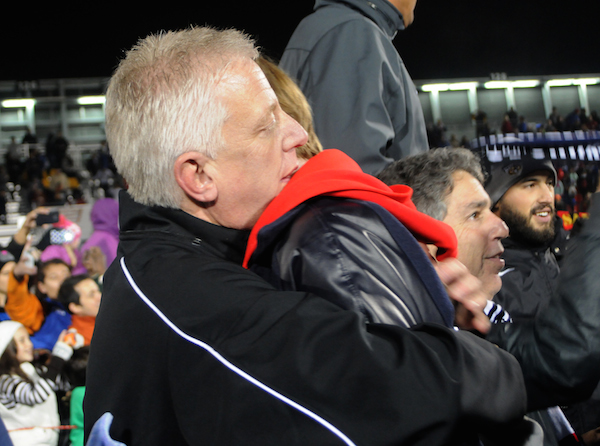 Gordon Hartman, San Antonio Scorpions team owner, hugs his daughter, Morgan, the namesake and inspiration, for Morgan's Wonderland following the 2-1 win in the NASL Championship game. Photo by Kristian Jaime.