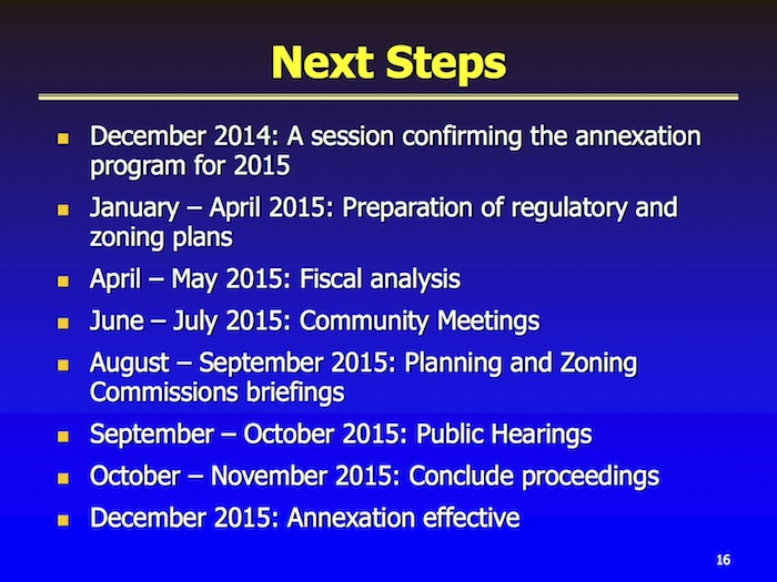 Annexation 360 timeline and next steps