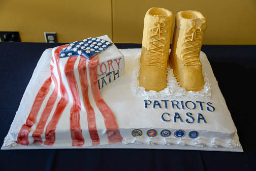 The cake at the ribbon-cutting ceremony for the Patriots' Casa at Texas A&M University-San Antonio. Photo by Annette Crawford.