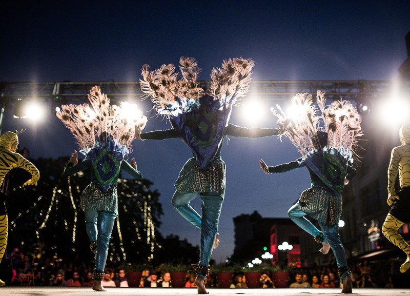 Performers dressed as peacocks and tigers dance at the 6th annual Diwali San Antonio. Photo by Scott Ball.