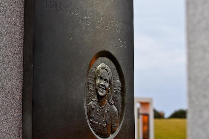 Bonfire Memorial portal honoring Texas A&M University student Miranda Denise Adams. Photo by Alex Richter.