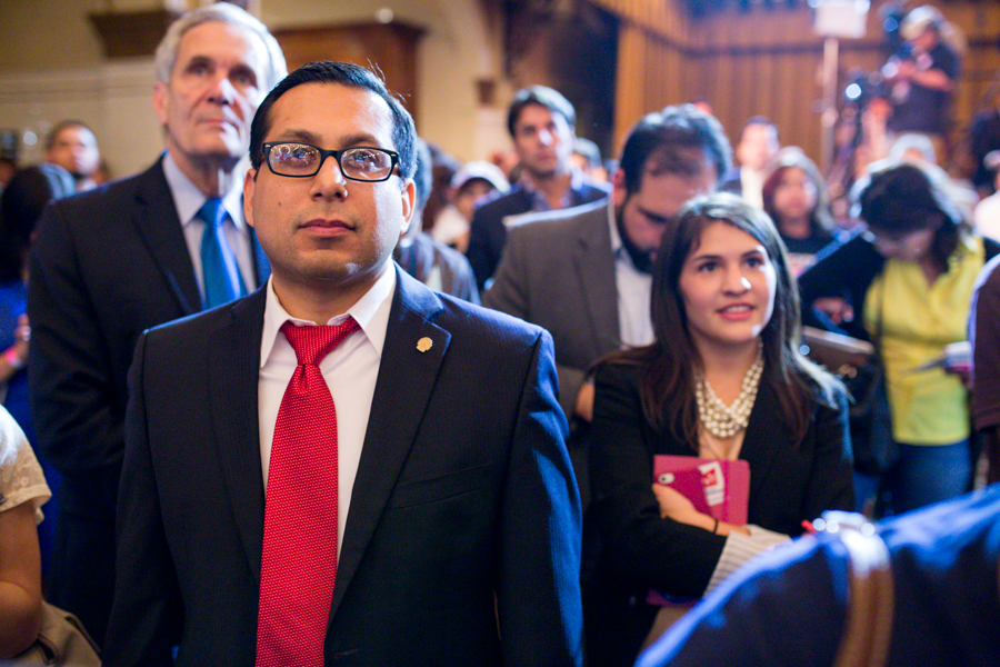 District 1 Councilmember Diego Bernal attends Leticia Van de Putte's address to her supporters on election day. Photo by Scott Ball.