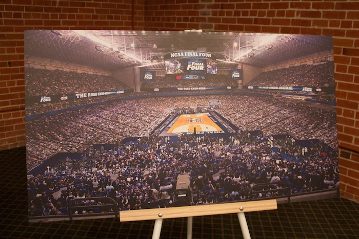 """Renderings of the proposed Alamodome """"facelift"""" on display at the Final Four announcement press conference. Photo by Taylor Browning."""