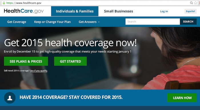 Screenshot of www.healthcare.gov.