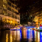 Multiple floats staged before the Holiday River Parade begins. Photo by Scott Ball.