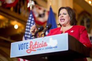 Sen. Leticia Van de Putte makes her concession speech on election night at Sunset Station. Photo by Scott Ball.