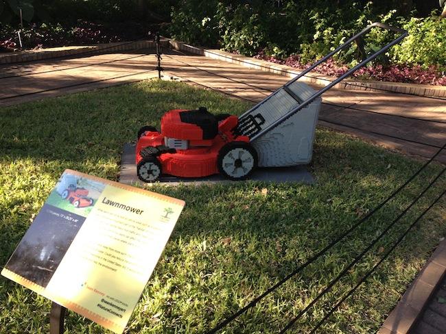 A LEGO Lawnmover at the San Antonio Botanical Garden. Photo by Robert Rivard.
