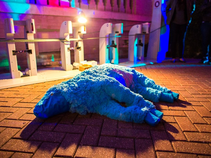 An art piece lays on the ground outside of Hotel Havana at Luminaria. Photo by Scott Ball.
