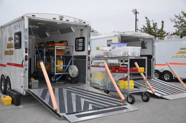 Mass Casualty Incident Trailer stocked with supplies, ready to roll. Photo by Cherise Rohr-Allegrini.