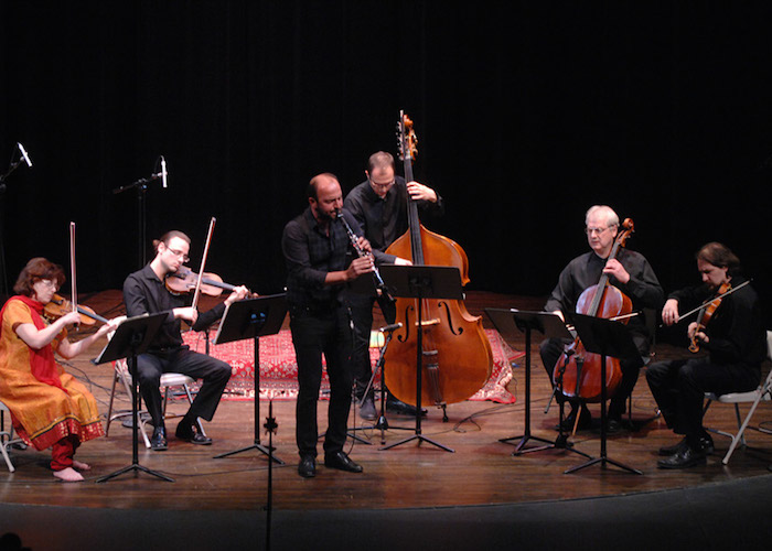 """Musical Bridges' """"Indian Fusion"""" concert featuring Syrian Clarinetist Kinan Azmeh, St. Petersburg String Quartet and Zlatan Redzic on double bass. Photo by Ken Mahnke."""
