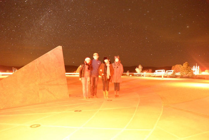 Visitors by the sun dial after a Star Party. Photo by Gretchen Greer.
