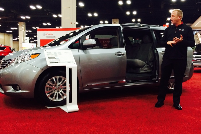 Jim McCausey with Gulf States Toyota explains the benefits of the Toyota Sienna minivan. Photo by Katherine Nickas.