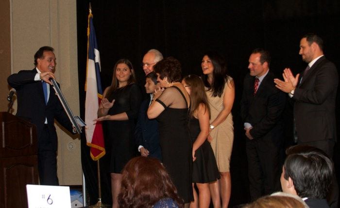 Former San Antonio Mayor Henry Cisneros honors Norma Rodriguez, the first woman, the first Hispanic, and the longest tenured City Clerk in the history of the City of San Antonio, at the American Sunrise Gala and Celebrity Song Slam. Courtesy photo