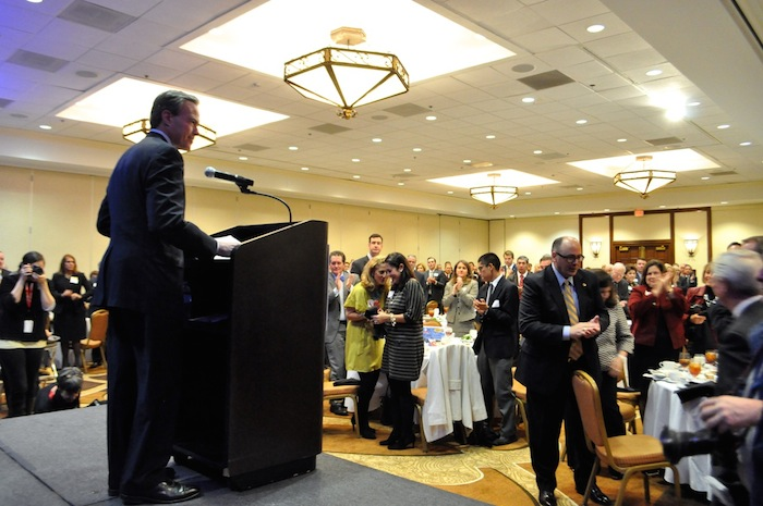 Texas House Speaker Joe Straus (R-Dist. 121) speaks to a standing ovation at the San Antonio Chamber of Commerce luncheon. Photo by Iris Dimmick.
