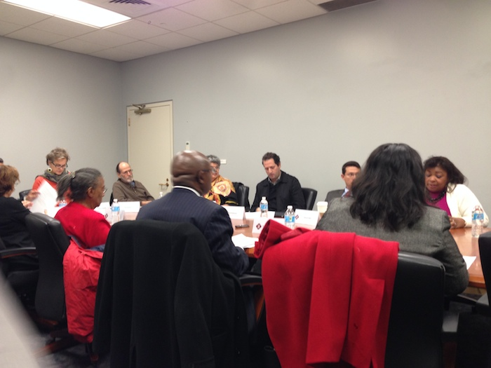 The Mayor's Task Force on Preserving Dynamic and Diverse Neighborhoods meets to discuss downtown's low-income housing stock. Photo by Sarah Gibbens.