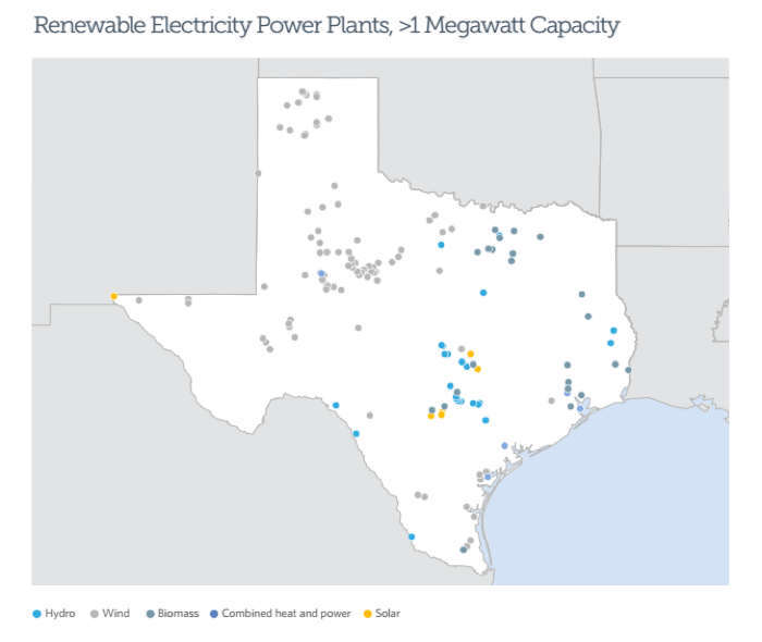 A map of renewable electricity power plants in Texas, with information provided by the Energy Information Administration. Courtesy of Pew Charitable Trusts.