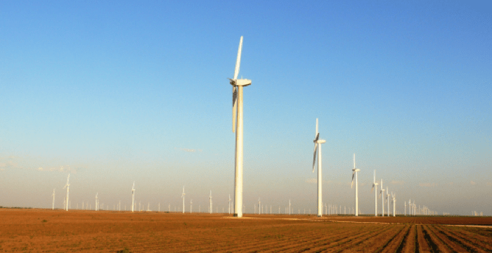 The Roscoe Wind Farm encompasses Fisher, Mitchell, Nolan, and Scurry counties in Texas. Image courtesy of E.ON North America.